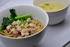 Mie ayam. Noodle served with chicken, mie ayam stock photo