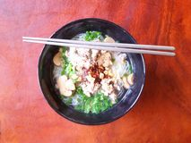 Noodle with shampingon mushrooms Stock Photos