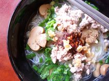 Noodle with shampingon mushrooms Stock Photo
