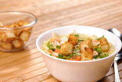 Noodle soup. With carrots, croutons and vegetables Stock Photos