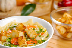 Noodle soup. With carrots, croutons and vegetables Royalty Free Stock Photo