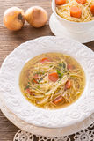 Noodle soup with beef broth Royalty Free Stock Photos