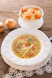 Noodle soup with beef broth Stock Photo