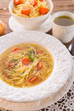 Noodle soup with beef broth Royalty Free Stock Image