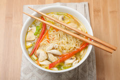 Noodle soup in a bowl Stock Image