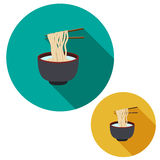 Noodle in soup bowl are holding with chopsticks. Set of noodle in soup bowl are holding with chopsticks in flat icon style with long shadow vector illustration