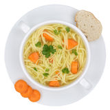 Noodle soup in bowl with noodles isolated from above Stock Photos