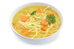 Noodle soup in bowl with noodles  Royalty Free Stock Photography