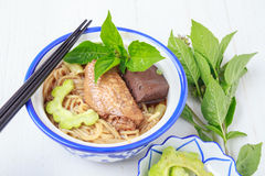 Noodle soup with chicken asia food Royalty Free Stock Images