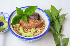 Noodle soup with chicken asia food Stock Photo