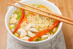 Noodle soup with chicken Stock Photography