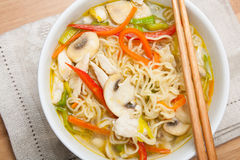 Noodle soup with chicken Royalty Free Stock Images