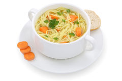 Noodle soup in cup with noodles isolated Royalty Free Stock Photo