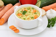 Noodle soup in cup with noodles Royalty Free Stock Photography