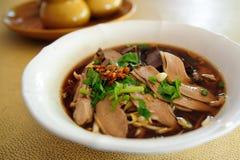 Noodle soup duck Stock Photo