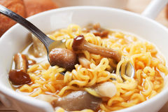 Noodle soup with mushrooms Stock Photos