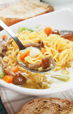 Noodle soup with mushrooms and vegetables Stock Image