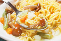 Noodle soup with mushrooms and vegetables Royalty Free Stock Image