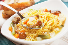Noodle soup with mushrooms and vegetables Royalty Free Stock Photography