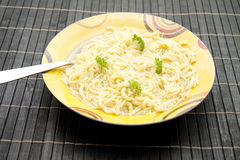 Noodle soup with parsley Royalty Free Stock Photography