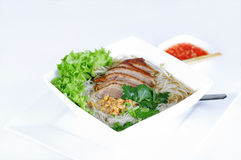 Noodle soup with Peking duck Royalty Free Stock Image