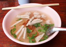 Noodle soup with pork Stock Images