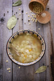 Noodle soup. Rural style. Top view Stock Images