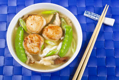 Noodle Soup with Scallops Stock Images