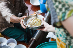 Noodle soup selling on boat Royalty Free Stock Photography