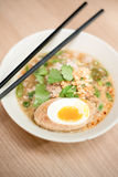 Noodle soup with special boil egg. Spicy noodle soup with special boil egg stock photo