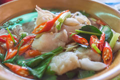 Noodle soup. Spicy noodle soup with fish in Thailand Stock Photo