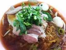 Noodle soup with Thailand vocation herb Royalty Free Stock Images
