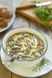 Noodle soup with turkey hearts Stock Photo