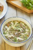Noodle soup with turkey hearts Royalty Free Stock Photography