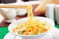 Noodle soup with vegetables Royalty Free Stock Images