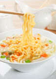 Noodle soup with vegetables Royalty Free Stock Photos