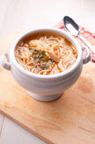 Noodle soup with vegetables and mushrooms Stock Image