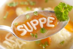 Noodle Soup With Dumplings Stock Photo