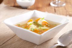 Noodle Soup With Dumplings Stock Photo