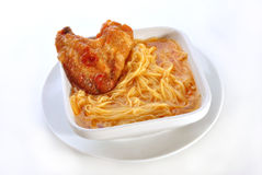 Free Noodle Soup With Grilled Chicken Wing Royalty Free Stock Photo - 20873865