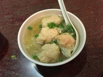 Noodle soup with wonton stock photo