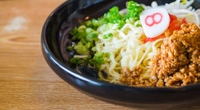 Noodle with spicy ground pork sauce Stock Image