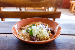 Noodle with spicy pork sup, northern Thai food Royalty Free Stock Photo