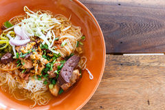 Noodle with spicy pork sup, northern Thai food Royalty Free Stock Photos