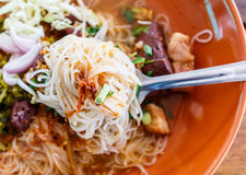Noodle with spicy pork sup, traditional northern Thai food Royalty Free Stock Image
