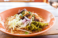 Noodle with spicy pork sup, traditional northern Thai food Royalty Free Stock Photos