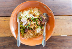 Noodle with spicy pork sup, traditional northern Thai food Stock Photography