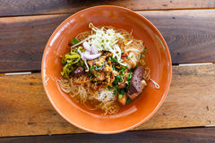 Noodle with spicy pork sup, traditional Thai food Stock Photo