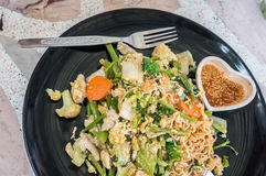 Noodle stir fry with vegetable , Sookie. Noodle stir fry with vegetable ,Thai name is Sookie royalty free stock photos