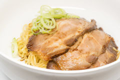 Noodle with sweet pork on white background Stock Photography
